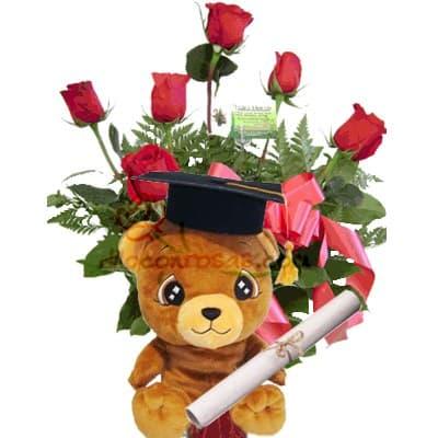 Osito Graduado | Rosas para Graduacion | Arreglos de Graduacion - Cod:OFX11