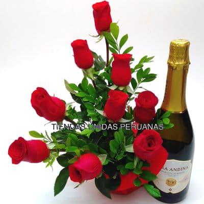 Rosas Para Graduación y Espumante - Cod:OFX15
