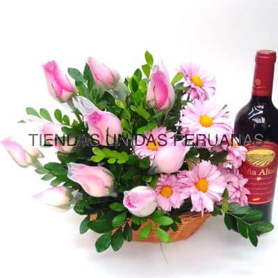 Arreglo Floral y Vino Viña Altair Español - Cod:OFX19