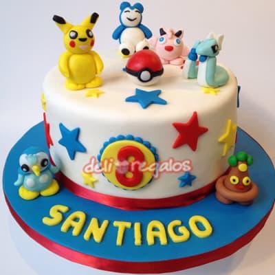 Grameco.com - Torta Pokemon 06 - Codigo:PKG06 - Detalles: Deliciosa torta de keke De Vainilla ba�ada con manjar blanco y decorada con masa elastica. Medidas 15cm de diametro. Presente incluye dedicatoria.  - - Para mayores informes llamenos al Telf: 225-5120 o 476-0753.