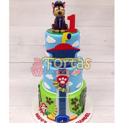 Torta Paw Patrol Chase | Tortas de Paw Patrol - Whatsapp: 980-660044