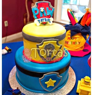 Torta Paw Patrol con escudo - Whatsapp: 980-660044