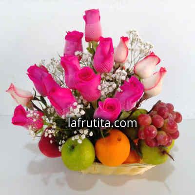 Arreglo de Rosas y Frutas Enteras - Cod:QFA05
