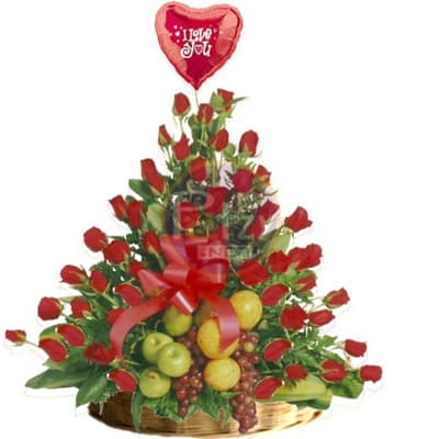 Frutero de Frutas Enteras con Rosas - Cod:QFA06
