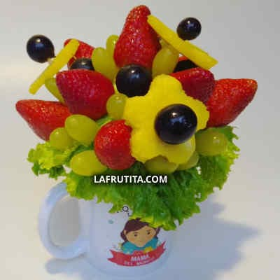 Frutero con Frutas en Taza | Dulce Jardín | Arreglos frutales - Cod:QFE06