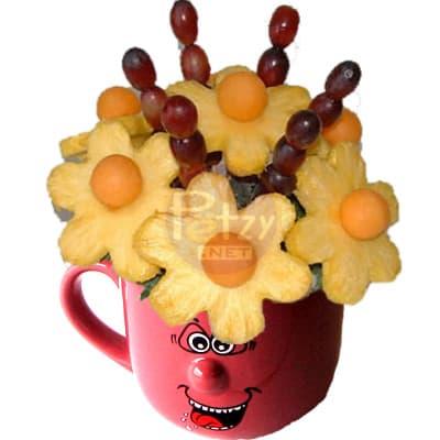 Frutero con Frutas de estacion en taza | Florerias Peru | Arreglos frutas Peru | canastas con frutas - Cod:QFE12