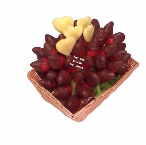Cesta de Mimbre con Arreglo de frutas - Cod:QFP03
