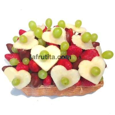 Arreglo Frutal en Cesta  con Fresas- Whatsapp: 980-660044