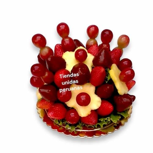 Arreglo a base de frutas de estacion en cesta- Whatsapp: 980-660044