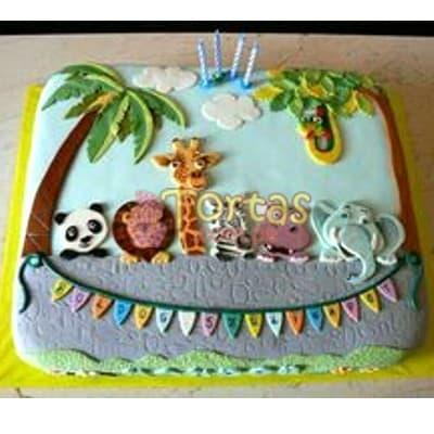 Tortas.com.pe - Torta Safari 12 - Codigo:SAF12 - Detalles:  Deliciosa Torta de vainilla de 20x30cm , ba�ado con manjar blanco,forrada de masa el�stica, en base de aluminio.(Mu�ecos en foto impresi�n) - - Para mayores informes llamenos al Telf: 225-5120 o 476-0753.