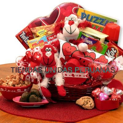 Detalles para san Valentin con dulces | Canasta 14 de Febrero - Cod:SDV13