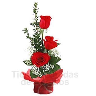 i-quiero.com - Rosas para Dia de la Secretaria - Codigo:SEC07 - Detalles: envase de cer�mica conteniendo  Arreglo floral con rosas rojas x 3 unidades, el arreglo tiene una altura de 27cm. incluye flores de estacion.  - - Para mayores informes llamenos al Telf: 225-5120 o 476-0753.