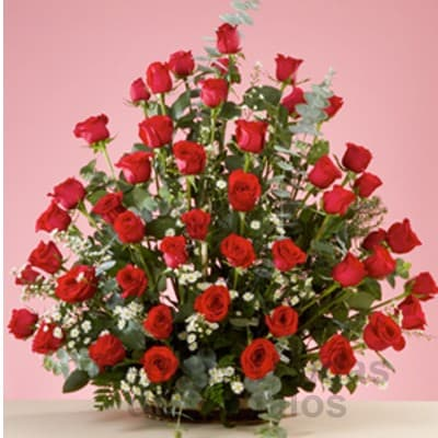 i-quiero.com - Arreglo de Rosas para mi Secretaria - Codigo:SEC11 - Detalles: Elegante e impresionante arreglo floral compuesto por 45 rosas importadas seg�n disposici�n de foto. El presente viene en una base de mimbre e incluye flores y follaje de estaci�n. - - Para mayores informes llamenos al Telf: 225-5120 o 476-0753.