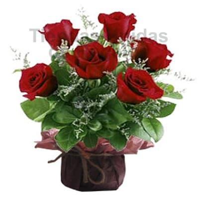 6 Rosas para dia del asistente | Arreglo Floral para Secretarias - Cod:SET10