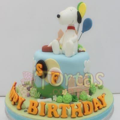 Tortas Snoopy con globos - Whatsapp: 980-660044