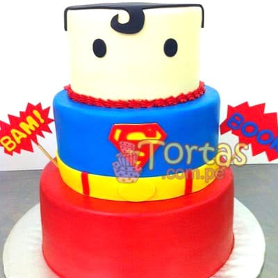 Torta de SuperMan- Whatsapp: 980-660044