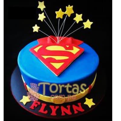 Diloconrosas.com - Torta SuperMan 08 - Codigo:SPN8 - Detalles: Delicioso keke De Vainilla ba�ado con manjar blanco y forrado con masa elastica. Tama�o: 20cm de diametro primer piso Incluye Estrellas de azucar - - Para mayores informes llamenos al Telf: 225-5120 o 476-0753.