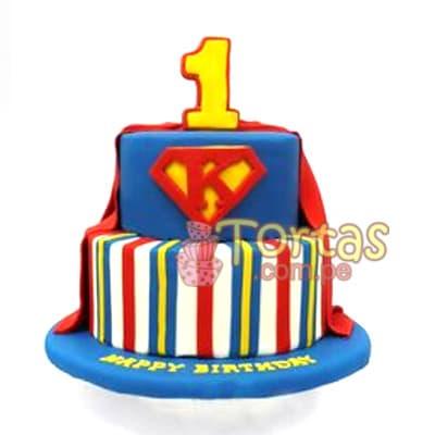 Diloconrosas.com - Torta Superman 10 - Codigo:SPN10 - Detalles: Delicioso keke De Vainilla ba�ado con manjar blanco y forrado con masa elastica. Tama�o: 20cm de diametro primer piso, 15cm de diametro segundo piso. incluye numero de azucar - - Para mayores informes llamenos al Telf: 225-5120 o 476-0753.