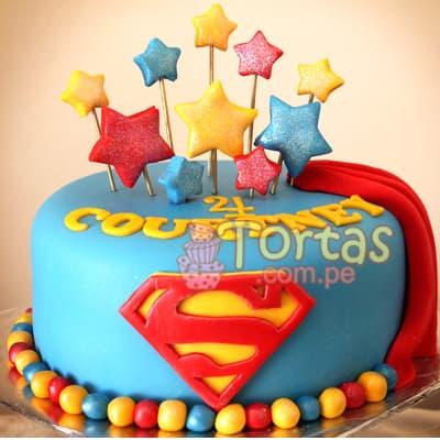 Diloconrosas.com - Torta Superman 15 - Codigo:SPN15 - Detalles: Delicioso keke De Vainilla ba�ado con manjar blanco y forrado con masa elastica. Tama�o: 20cm de diametro primer piso,  - - Para mayores informes llamenos al Telf: 225-5120 o 476-0753.