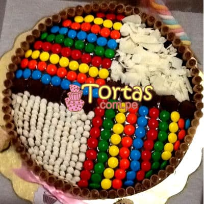 Torta Candy con Grageas de colores - Whatsapp: 980-660044