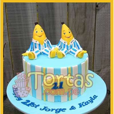 Desayunosperu.com - Torta Bananas 04 - Codigo:TBP04 - Detalles: Torta de queque De Vainilla   ba�ado en manjar blanco y forrado y decorado en masa elastica. Las medidas 15cm de diametro.incluye bananas en masa elastica. - - Para mayores informes llamenos al Telf: 225-5120 o 476-0753.