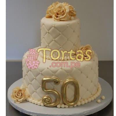 I-quiero.com - Torta 50 a�os 16 - Codigo:TCS16 - Detalles: Delicioso queque De Vainilla   forrada en masa el�stica. Medidas: 1er piso de 20cm de di�metro, 2do piso de 10cm de di�metro, flores modeladas - - Para mayores informes llamenos al Telf: 225-5120 o 476-0753.