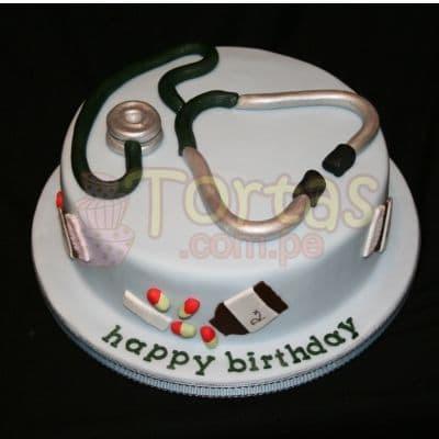 Torta con tema de Medico  - Codigo:TDC07 - Detalles: Torta hecha a base de queque De Vainilla,  ,    en manjar blanco, forrado y decorado en masa el�stica. De las medidas 20cm. De diametro.  - - Para mayores informes llamenos al Telf: 225-5120 o 980-660044.