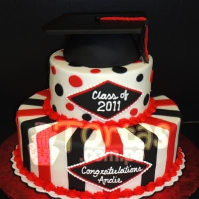 I-quiero.com - TORTA GRADUACION 05 - Codigo:TGR05 - Detalles: Deliciosa  torta de keke De Vainilla    y ba�ado en manjar blanco. De las medidas primer nivel 20cm. dediametro y segundo 15cm de diametro. Rinde aproximadamente 35 porciones. . Incluye birrete no comestible.   - - Para mayores informes llamenos al Telf: 225-5120 o 476-0753.