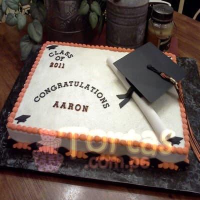 Torta de Graduacion con Birrete | Torta de Graduación para Mujer | Tortas Peru - Cod:TGR08