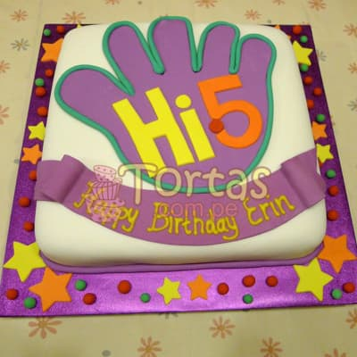 Torta con tema Hi5 | Delivery de de tortas en Lima | Envío de tortas en Lima Perú - Cod:THI02