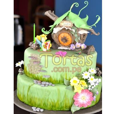 Torta casa de Tinkerbell | Torta de campanita - Whatsapp: 980-660044