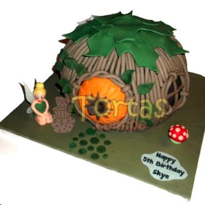 Torta casa de Campanita | Pastel de Tinkerbell | Tortas | Pastel de Campanita - Cod:TKB03