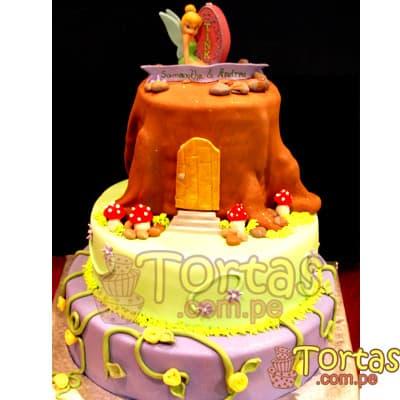 Torta tinkerbell 3 pisos | Pastel de Tinkerbell | Tortas | Pastel de Campanita - Cod:TKB06