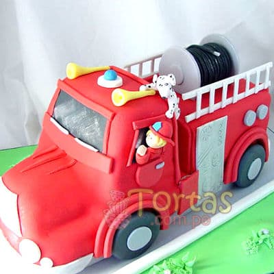 Pastel con tema bomberos - Cod:TMB06
