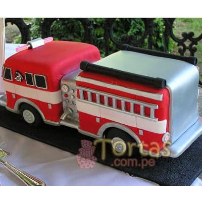 Pastel de tematica bomberos - Cod:TMB07