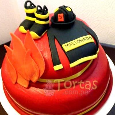 Torta bombero especial | Torta bombero | Tortas de bomberos | Pastel de bombero - Cod:TMB10