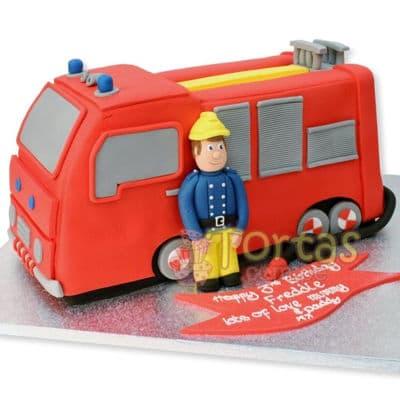 Torta para un bombero | Torta bombero | Tortas de bomberos | Pastel de bombero - Cod:TMB12