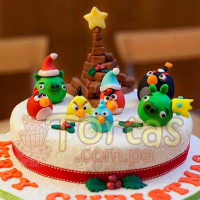 Torta de Navidad | Torta Navideña Angry Birds - Cod:TNA05
