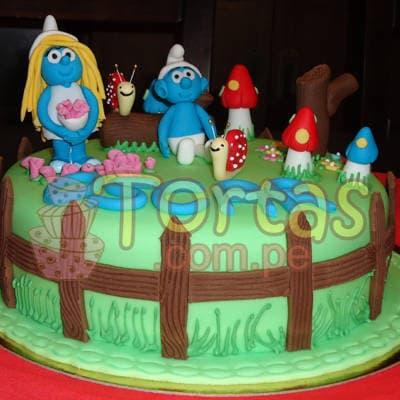 Torta Pitufos en el bosque | Torta Pitufos | Feliz cumpleaños | Tortas | Cumpleaños - Cod:TPU03