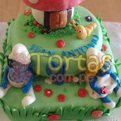 Torta Pitufo personalizada | Torta Pitufos | Feliz cumpleaños | Tortas | Cumpleaños - Whatsapp: 980-660044