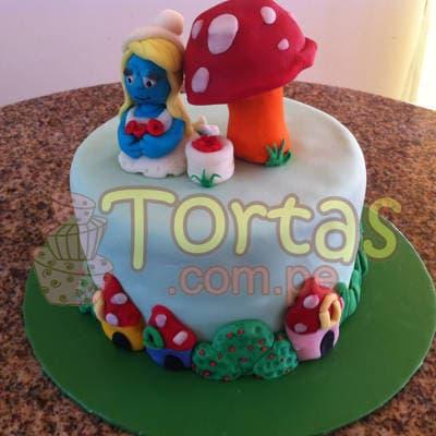 Torta de Pitufina | Torta Pitufos | Feliz cumpleaños | Tortas | Cumpleaños - Cod:TPU06