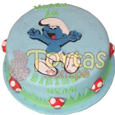 Torta  con tema Pitufos | Torta Pitufos | Feliz cumpleaños | Tortas | Cumpleaños - Cod:TPU08