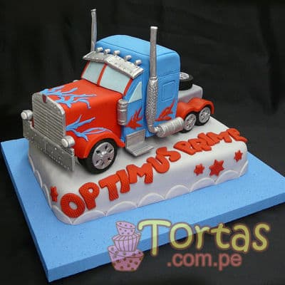 Torta con tema Optimus Prime | Pasteles Transformers | Tortas de transformers - Cod:TRF07