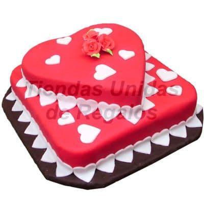 Torta Corazón dos Niveles | Torta de Corazones  - Cod:TRR28