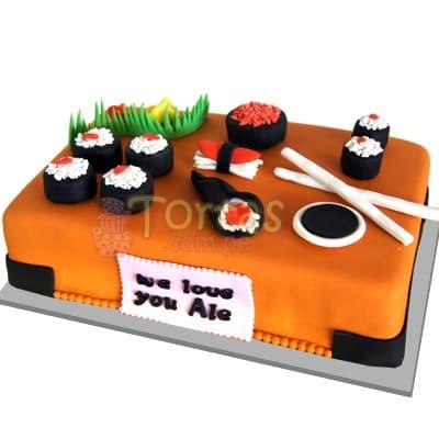Torta Sushi y Rolls | Torta Sushi | Torta Rolls | Torta Japonesa - Cod:TRR36