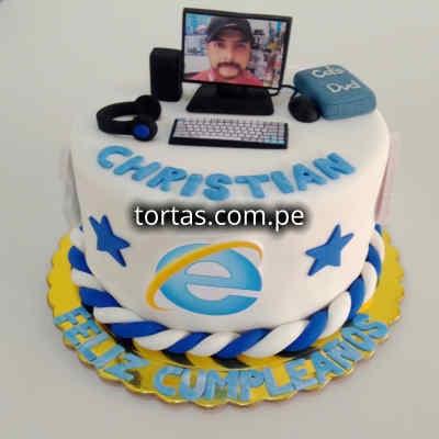 Torta de Computadora | Torta en Forma de Computadora | Torta PC | Torta Explorer - Cod:TRR55