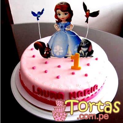 Princesa Sofia Cake 02 - Codigo:TSI02 - Detalles: Deliciosa torta de keke De Vainilla, ba�ado con manjar blanco y forrado con masa el�stica. 20cm de diametro, incluye impresion no comestible de la Princesa segun imagen. - - Para mayores informes llamenos al Telf: 225-5120 o 980-660044.