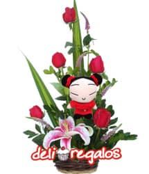 i-quiero.com - Rosas y Peluche para San Valentin - Codigo:VLN18 - Detalles: Precioso detalle compuesto por 5 rosas importadas, lilium jaspeado y follaje de estaci�n, acompa�ado de peluche de 15cm de altura - - Para mayores informes llamenos al Telf: 225-5120 o 476-0753.