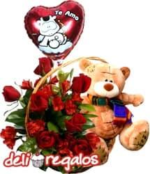 i-quiero.com - Arreglo de Rosas, Peluche y Globo San Valentin - Codigo:VLN21 - Detalles: Canasta de mimbre con 5 rosas rojas importadas y astroemelias en tonos rojizos acompa�ado del tierno osito Nico de 25 cm. Incluye de cortes�a un globo de Te Amo. - - Para mayores informes llamenos al Telf: 225-5120 o 476-0753.