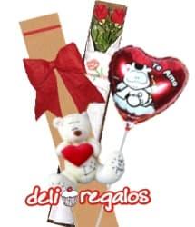 i-quiero.com - Rosas importadas, peluche y Globo para Dia de los Enamorados - Codigo:VLN27 - Detalles: Exclusiva caja ecologica Diloconrosas conteniendo 2 rosas rojas importadas de tallo largo, Tierno oso